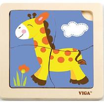 legpuzzel Giraffe junior 15 cm hout 4 stukjes