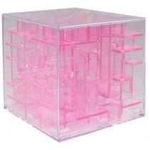 mini-doolhof transparant roze 4 x 4 x 4 cm