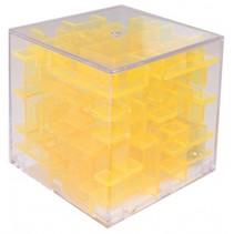 mini-doolhof transparant geel 4 x 4 x 4 cm
