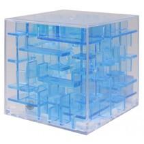 mini-doolhof transparant blauw 4 x 4 x 4 cm