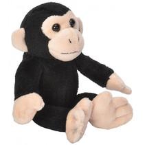 knuffel chimpansee junior 13 cm pluche zwart