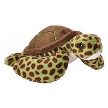knuffel zeeschildpad 13 cm pluche groen/bruin