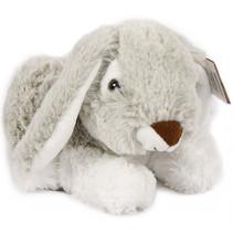 knuffel konijn liggend pluche 20 cm grijs/wit