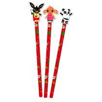 potlood met gum junior hout/rubber rood 3 stuks