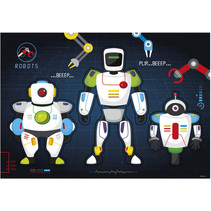 bureau mat robots 49 x 34 cm karton blauw