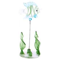 glazen vis op standaard 10 cm blauw/groen/transparant