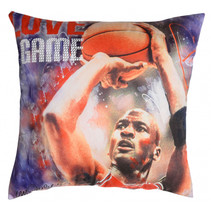 kussen Michael Jordan 40 x 40 cm polyester blauw/rood