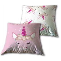 decoratiekussen eenhoorn 35 cm polyester roze/wit