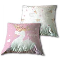 decoratiekussen zwaan 35 cm polyester roze/wit