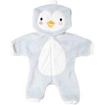 poppenonesie Pinguïn junior fluweel wit/grijs mt 35-45 cm