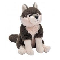 knuffel Wolf junior 15 cm pluche bruin/wit