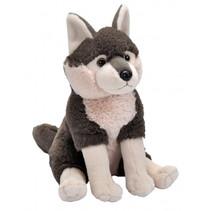 knuffel Wolf junior 24 cm pluche bruin/wit