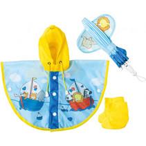poppenregenkleding Zeilen junior mesh blauw/geel 3-delig