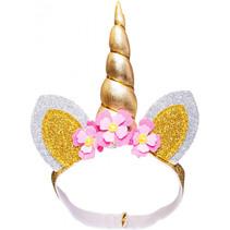 poppenhaardband Unicorn junior goud 35-45 cm