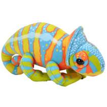 knuffelkameleon junior 15 cm pluche blauw/groen