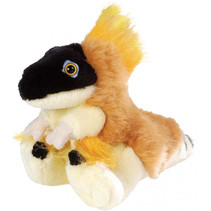 knuffel Velociraptor junior 12 cm pluche bruin