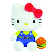 knuffel Hello Kitty Retro 20 cm pluche wit/blauw