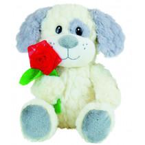 knuffel Valentine Dog junior pluche grijs/wit