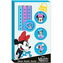 armbandenset Minnie Mouse junior blauw/roze 6-delig