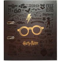 ringband Glasses 2-rings A4 7 cm donkerbruin/goud