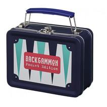 backgammonkoffer junior 14 x 10,5 cm staal/hout blauw/wit