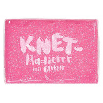 kneedgum glitter junior 6 x 4 cm polymeer roze