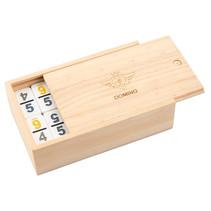 dominospel dubbel 9 cijfers hout naturel/wit 56-delig