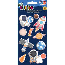 stickers Space Puffy 22 cm vinyl blauw 10 stuks