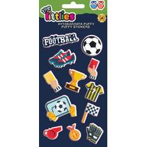 stickers Football Puffy 22 cm vinyl blauw 12 stuks