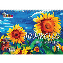 schetsblok Aquarella 30 x 40 cm A4 papier blauw/geel