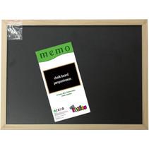 krijtbord Memo 40 x 30 cm hout zwart/bruin 3-delig
