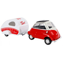 auto BMW Isetta 18,5 cm staal rood/wit 2-delig