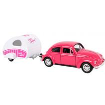 auto Volkswagen Beetle 21 cm staal roze/wit 2-delig