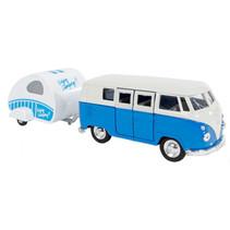 bus Volkswagen 1963 T1 staal 21 cm blauw/wit 2-delig