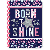 notitieboek Shine meisjes A4 papier blauw 120 vellen