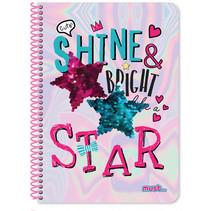 notitieboek Shine meisjes B5 papier paars 60 vellen