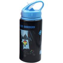 drinkfles junior 500 ml aluminium zwart/blauw