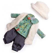 poppenkleding meisjes 35 cm textiel groen/wit 4-delig