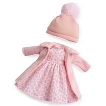 poppenjurk meisjes 35 cm textiel roze/wit 3-delig