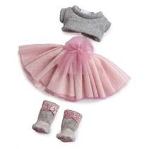 poppenkleding meisjes 35 cm textiel roze/grijs 3-delig