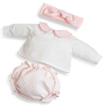 poppenkleding meisjes 38 cm textiel wit/roze 3-delig