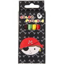 kleurpotloden piraat 6 stuks 9 cm