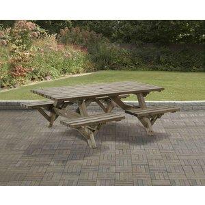 Picknicktafel 160 x 230cm, 45mm dik, geïmpregneerd en gewaxd
