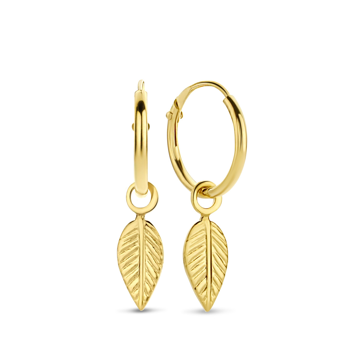 Selected Jewels Julie Lucie 925 sterling silver gold colored creoles with feathers