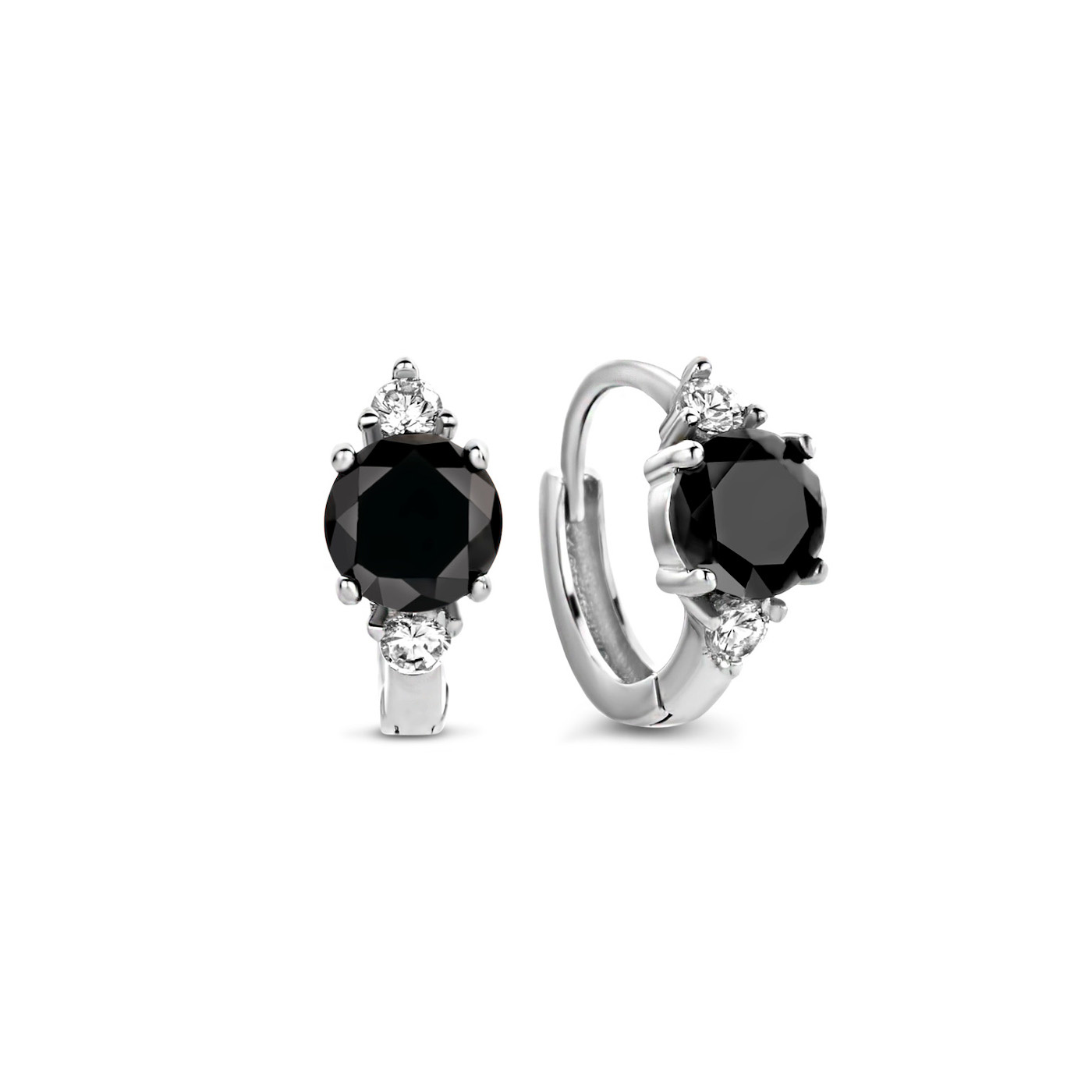 Selected Jewels Mila Sophie 925 sterling silver creoles with black onyx