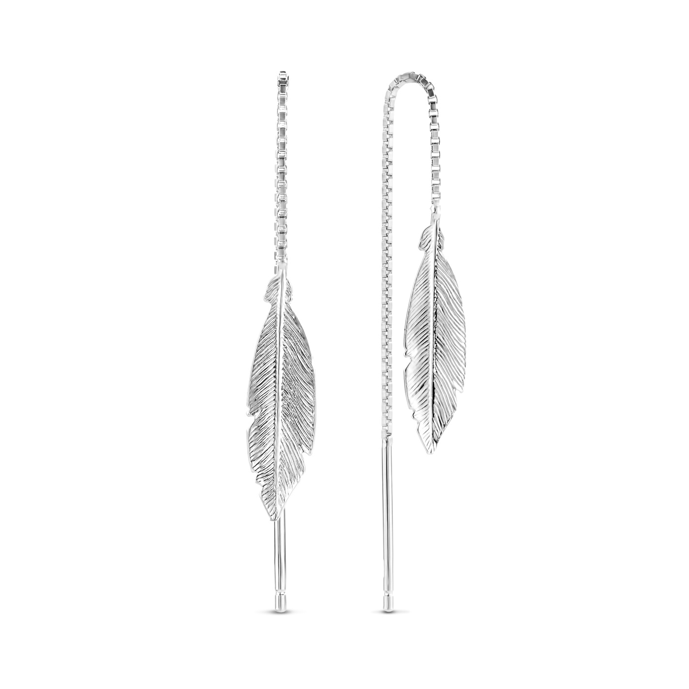 Selected Jewels Julie Lucie 925 sterling silver drop earrings with feathers