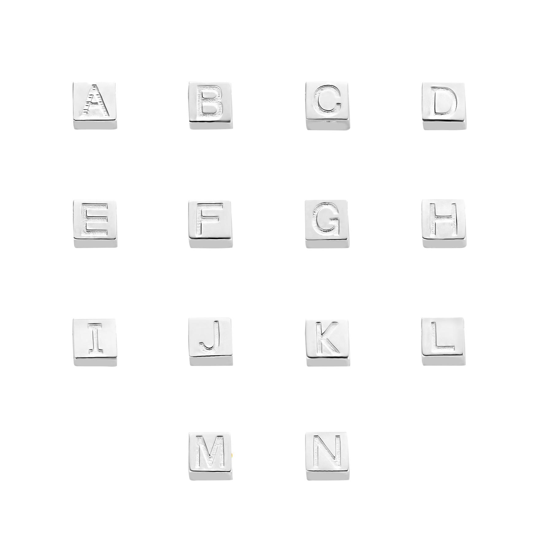 Selected Jewels Julie Chloé 925 sterling zilveren kubus initial ketting met letter