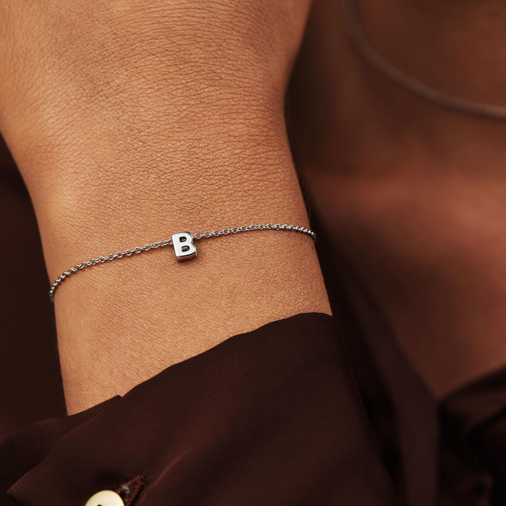 Selected Jewels Lynn Mikki 925 sterling zilveren initial armband met letter