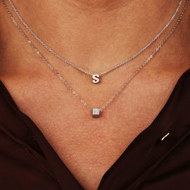 Selected Jewels Lynn Mikki 925 sterling silver initial letter necklace