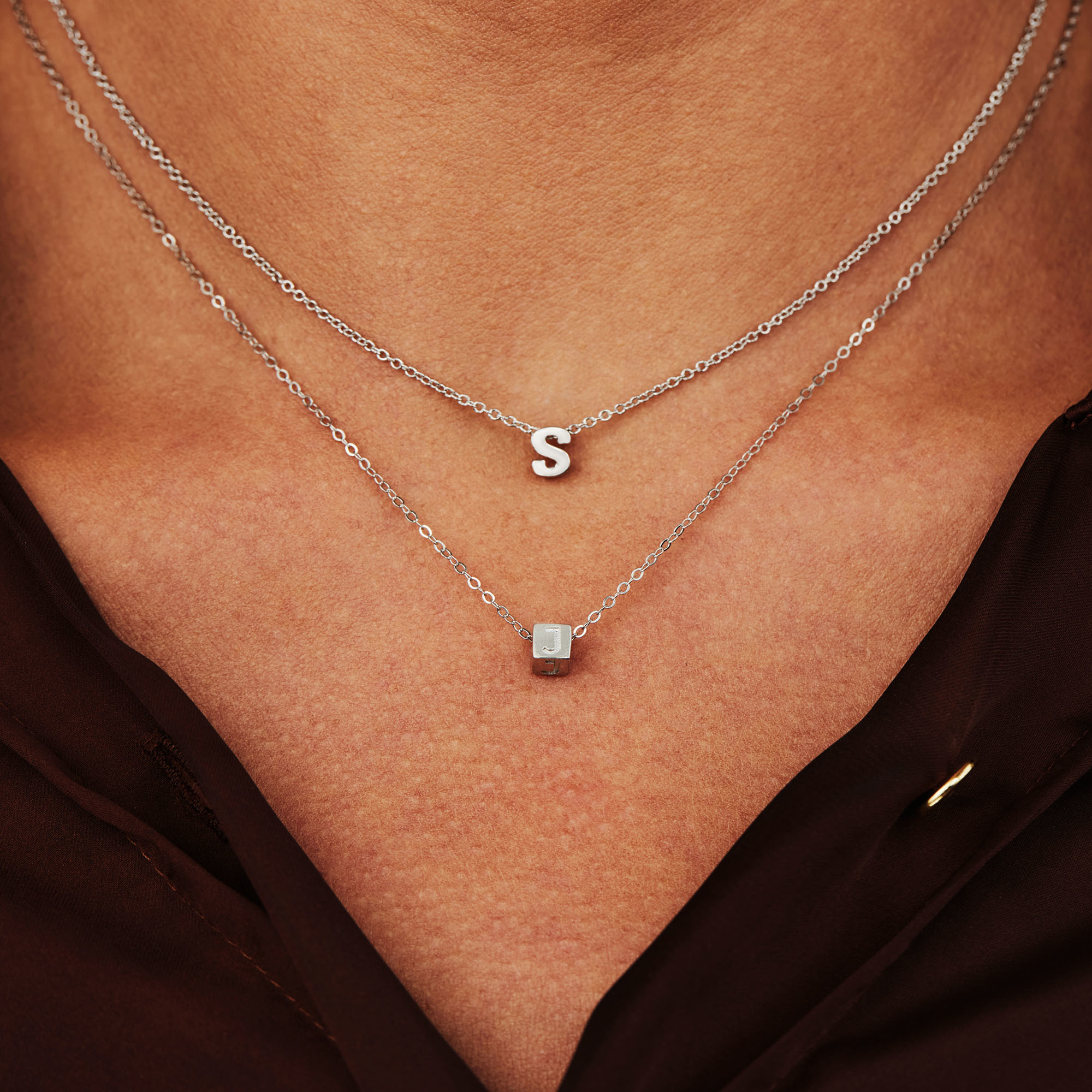 Selected Jewels Lynn Mikki 925 sterling silver initial necklace with letter